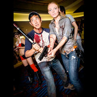 Grant Imahara and Jenny Newman cosplaying as The Walking Dead.