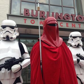 Stormtroopers posed outside of the town center in Burlington, VT.