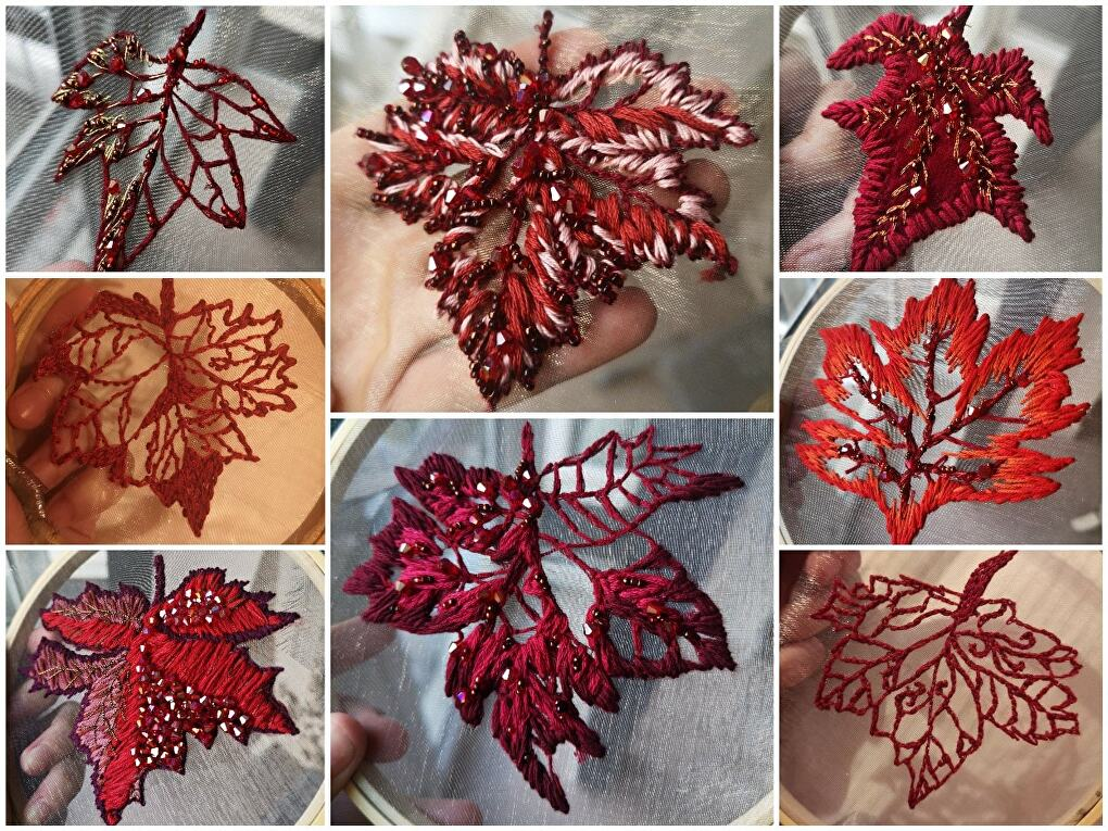 Some of the many different leaves that Beth Malcolm (amazoniancos) has made so far for her Sansa Stark coronation dress while in quarantine.
