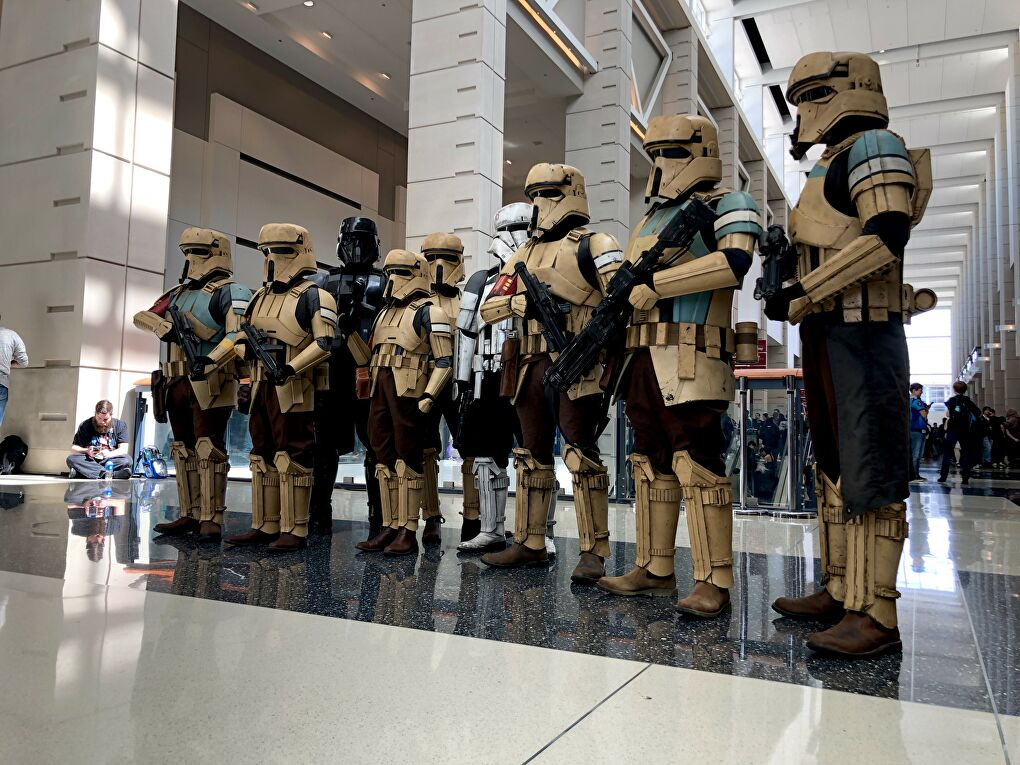 A group of Shoretroopers at a con. Their cosplays are almost completely 3D printed. (Photo courtesy Andrew Liptak)