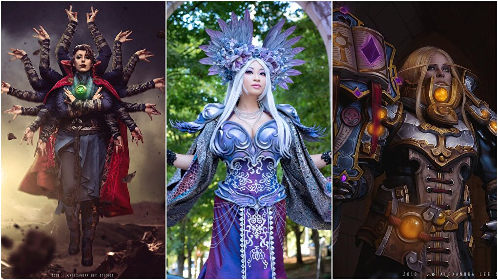 The judges for the Virtual Championships of Cosplay: Jedimanda, Yaya Han, & Ginoza Costuming. Photography (left and right photos) by Alexandra Lee Studios.