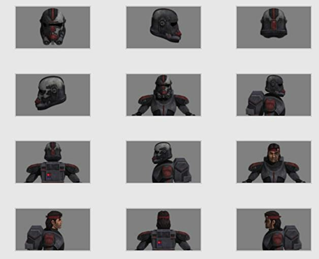 Different angles of Hunter's armor from Star Wars: The Clone Wars, from StarWars.com.