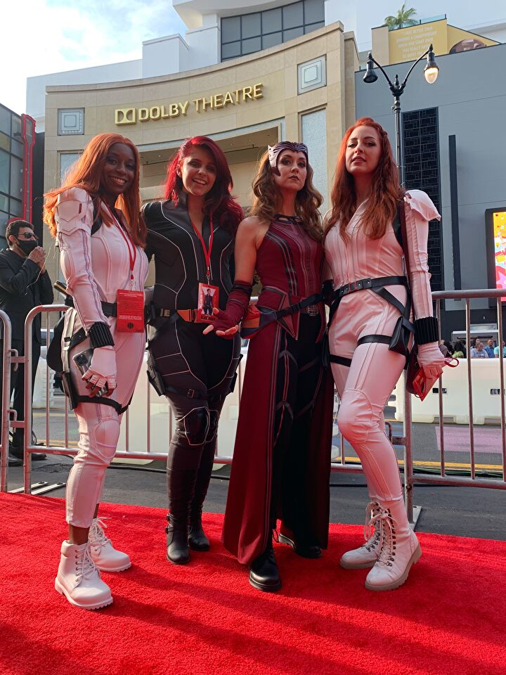 Black Widow cosplayers at the Black Widow Premiere in Hollywood, CA.