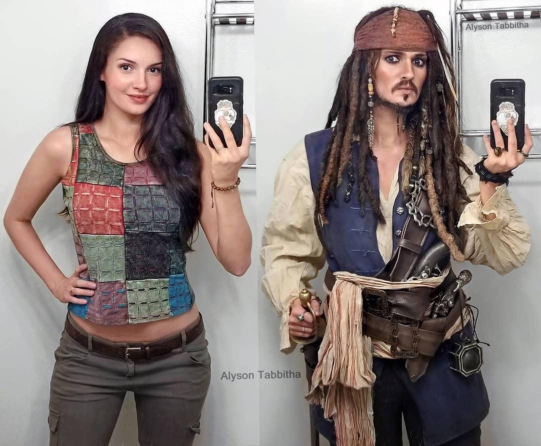 Alyson Tabbitha as Jack Sparrow and Tifa Lockhart