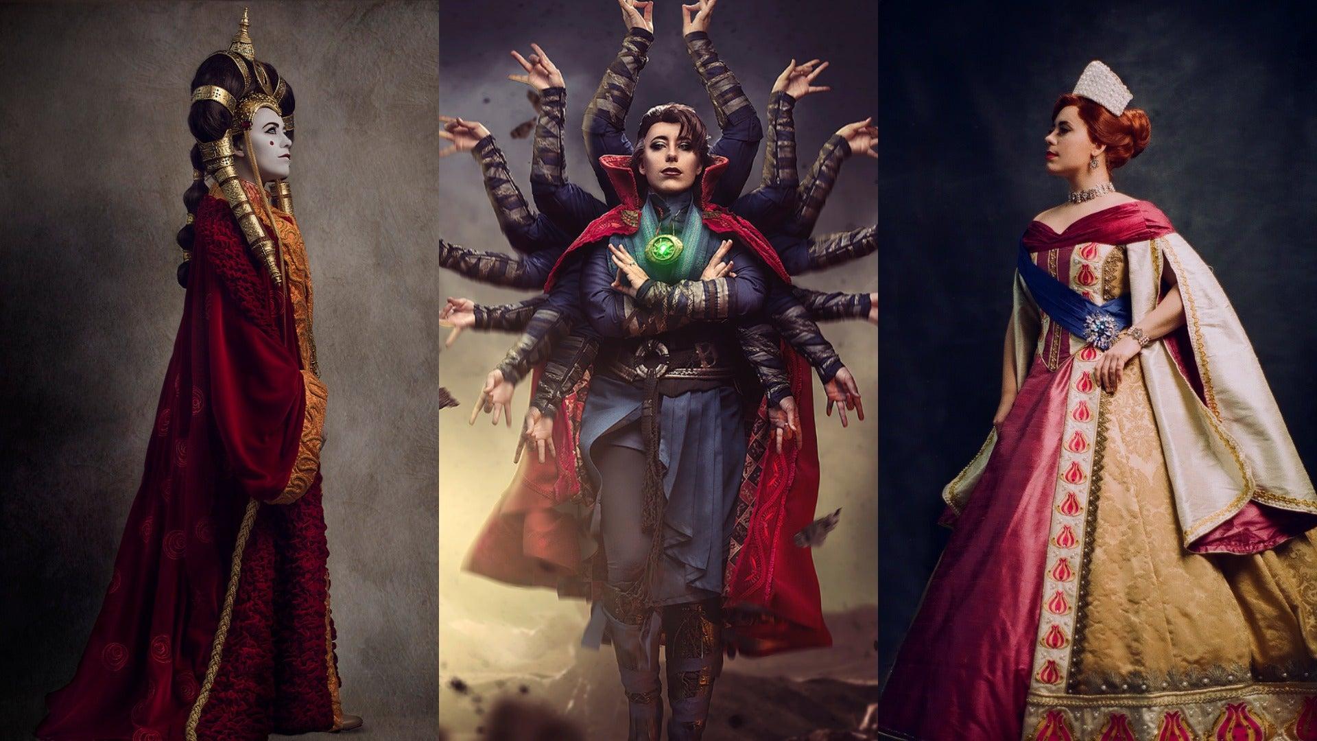 Jedimanda as Padme Amidala, Doctor Strange, and Anastasia. Photography by Alexandra Lee Studios.