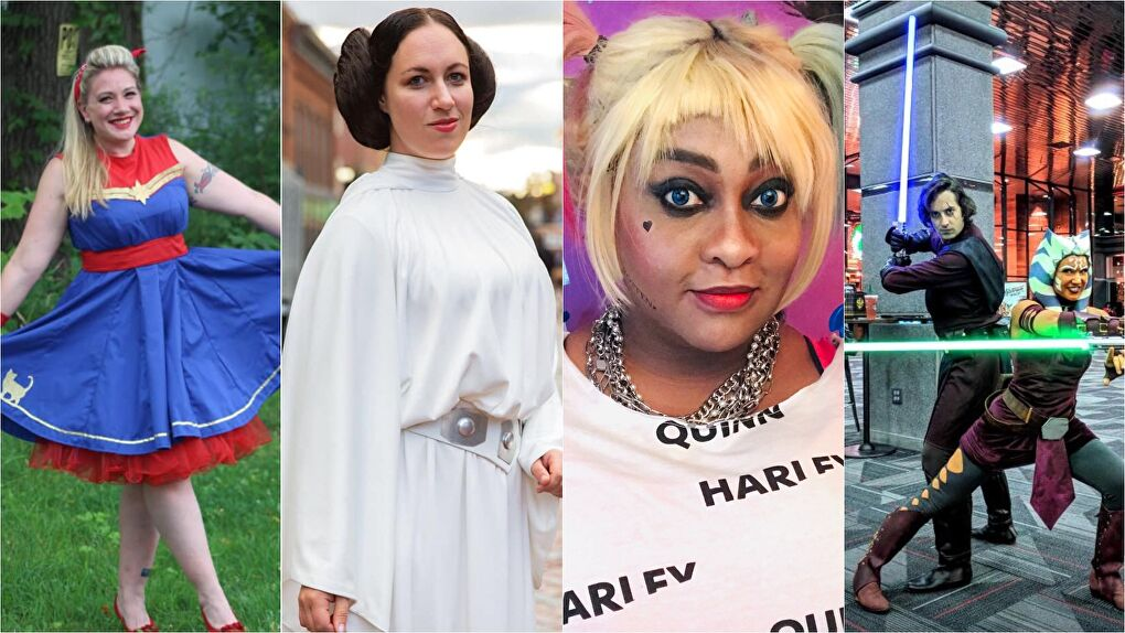 Cosplayers (from left to right): Crisis Cosplay As Captain Marvel, Inevitable Betrayal Cosplay as Leia, Black Bettie Cosplay as Harley Quinn, and Euphoria.BJC/Vexvix as Ahsoka and Anakin.