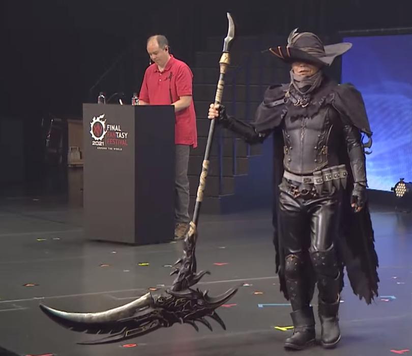 Naoki Yoshida cosplaying as the Reaper at the Final Fantasy XIV Digital FanFest
