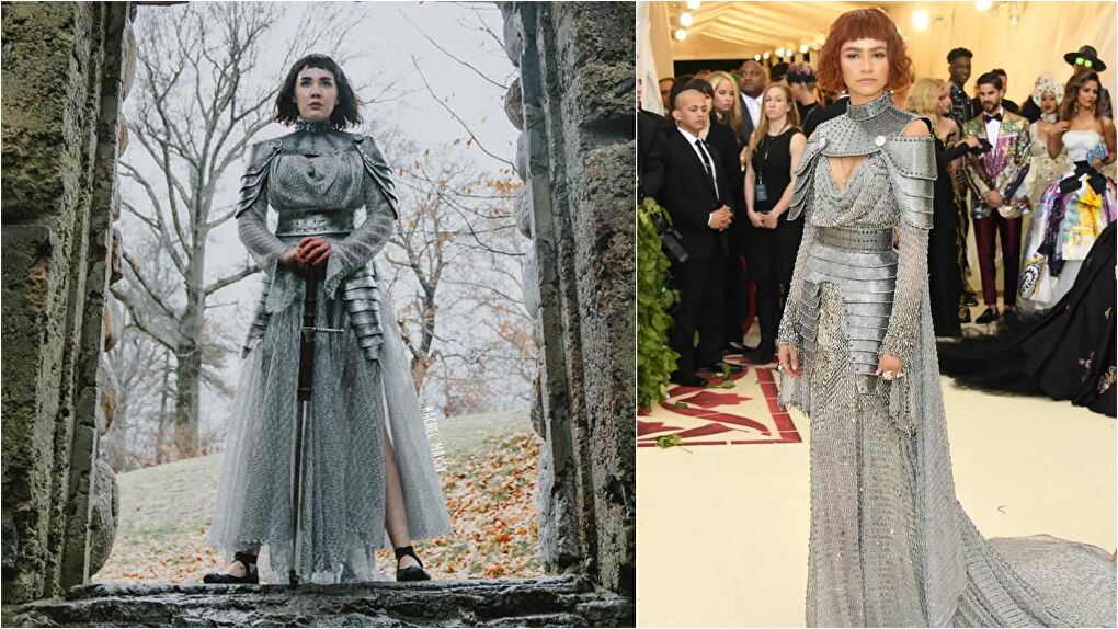 Rachel Maksy (left) wearing her recreated Joan of Arc dress that was worn by Zendaya at the 2018 Met Gala (right)
