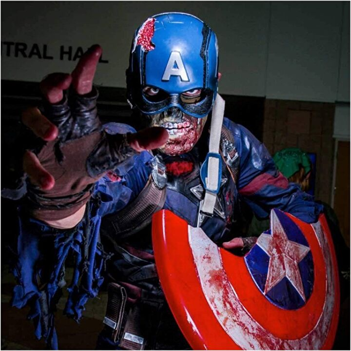 Cap.Mathis_cosplay as Zombie Cap. Photographed by rozo.photo. (Left image courtesy Marvel Studios)